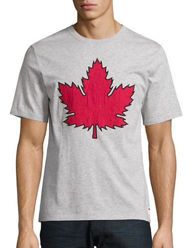Canadian Olympic Team Collection Mens Maple Leaf Applique T-Shirt-GREY-Large 88622621_GREY_Large