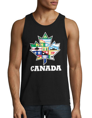 Canadian Paralympic Committee Mens Provincial Leaf Tank Top-BLACK-X-Large
