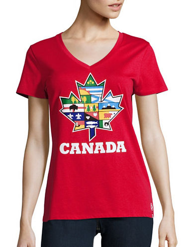 Canadian Paralympic Committee Womens Provincial Leaf T-Shirt-RED-Large