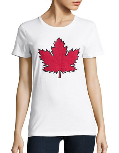 Canadian Olympic Team Collection Womens Maple Leaf Applique T-Shirt-WHITE-Large