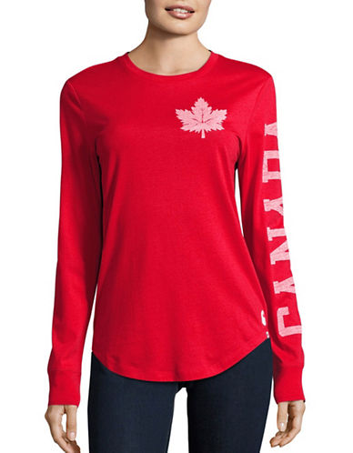 Canadian Olympic Team Collection Womens Washed Canada Long Sleeve T-Shirt-RED-X-Large 88626941_RED_X-Large