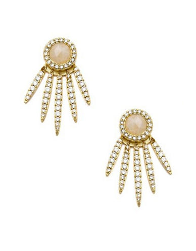 Melanie Auld 14K Goldplated Five-Point Moonstone Stud Earrings-GOLD-One Size