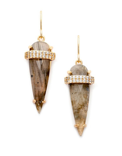 Melanie Auld Cubic Zirconia, Labradorite and 14K Goldplated Brass Spear Earrings-GOLD-One Size