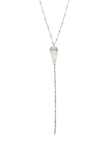 Melanie Auld Cubic Zirconia, Moonstone and Rhodium-Plated Brass Lariat Necklace-SILVER-One Size