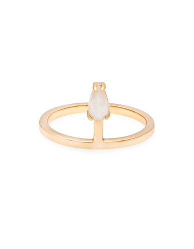 Melanie Auld Moonstone and Micro Pave Cubic Zirconia Stacking Ring-GOLD-7
