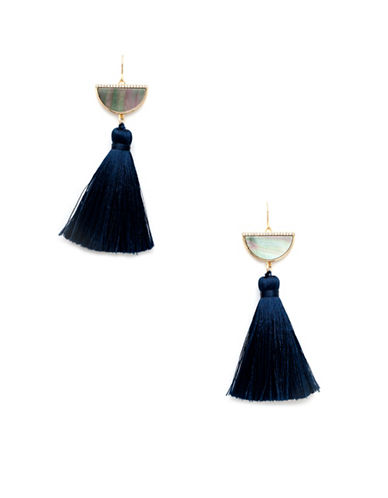 Melanie Auld 14K Goldplated and Black Lip Oyster Shell Half Moon Tassel Earrings-GOLD-One Size