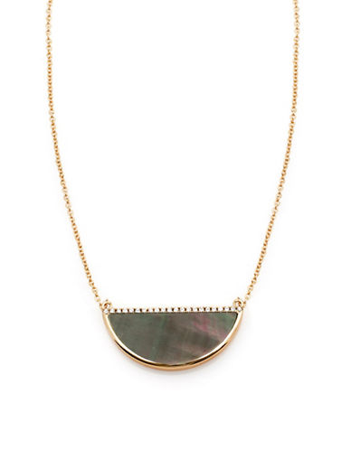 Melanie Auld Black Lip Shell and Micro Pave Cubic Zirconia Half-Moon Pendant Necklace-GOLD-One Size