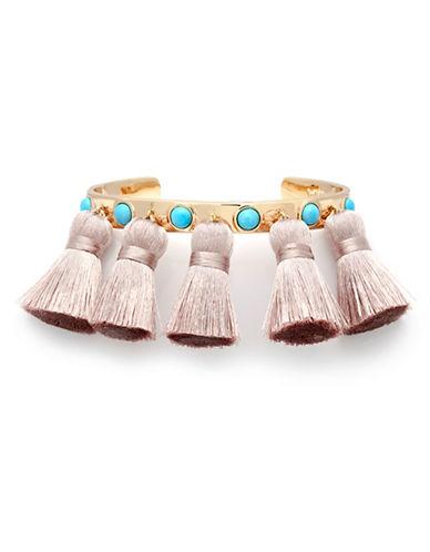 Melanie Auld 14K Goldplated Howlite Five Tassle Cuff Bracelet-GOLD-One Size