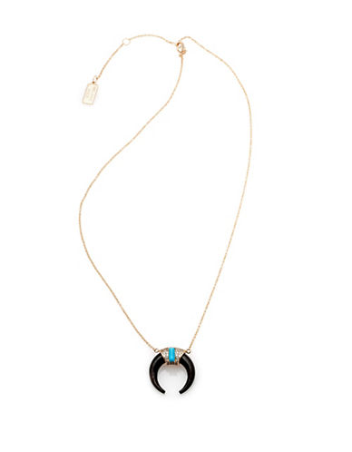 Melanie Auld 14K Goldplated Brass and Blue Howlite Tusk Necklace-GOLD-One Size