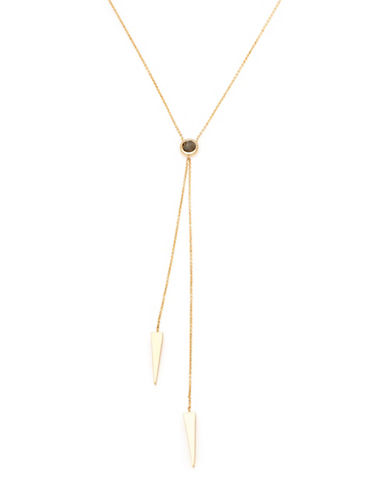 Melanie Auld Labradorite and 14K Goldplated Brass Double Lariat Necklace-GOLD-One Size