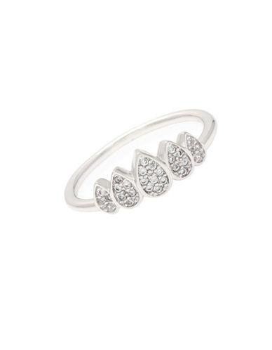 Melanie Auld Rhodium-Plated Cubic Zirconia Teardrop Crown Ring-SILVER-One Size