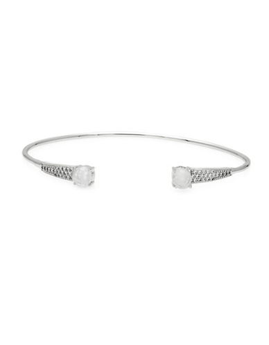 Melanie Auld Moonstone and Cubic Zirconia Classic Bracelet Cuff-SILVER-One Size