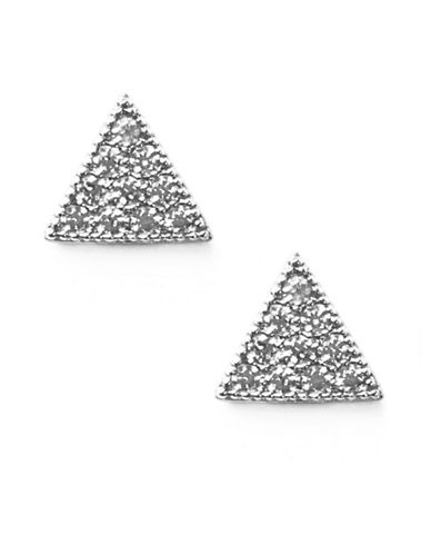Melanie Auld Rhodium-Plated Cubic Zirconia Pave Triangular Stud Earrings-SILVER-One Size