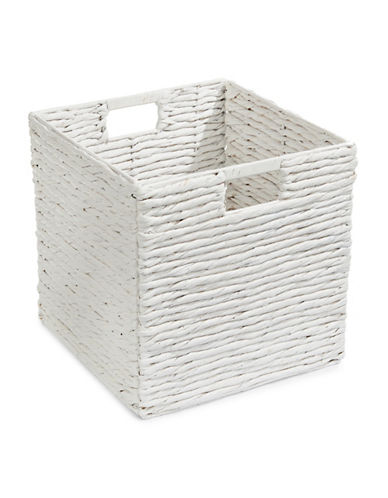 Distinctly Home Foldable Water Hyacinth Crate-WHITE-One Size