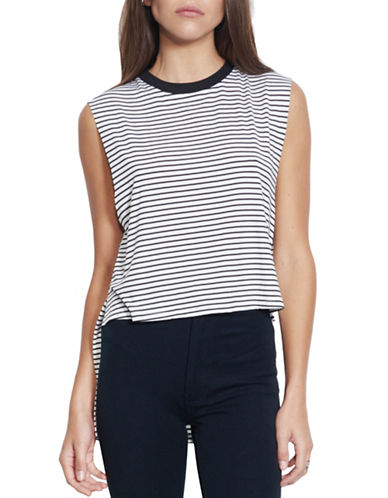 Nana Judy Carrera Striped Step Hem Tee-BLACK-Small