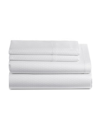 Glucksteinhome Corcoran 450 Thread-Count Four-Piece Printed Sheet Set-WHITE/GREY-Queen