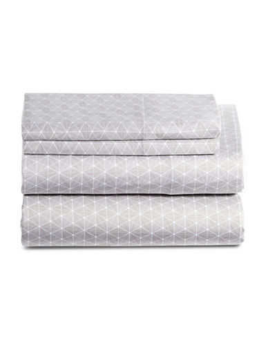 Glucksteinhome Bryce 450 Thread-Count Four-Piece Printed Sheet Set-GREY/WHITE-King