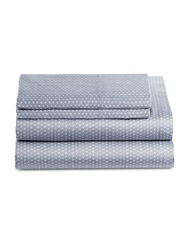 Glucksteinhome Ellis 450 Thread-Count Four-Piece Printed Sheet Set-GREY/BLUE-King
