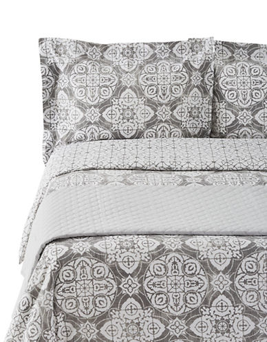 Glucksteinhome Brigette Four-Piece Duvet Cover and Quilt Set-GREY-Queen