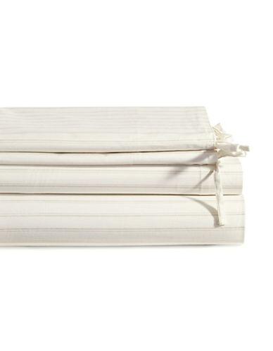 Glucksteinhome Marais Striped Cotton Four-Piece Sheet Set-WHITE-Queen