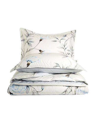 Glucksteinhome Emma Three-Piece Floral Duvet Cover Set-WHITE/BLUE-King