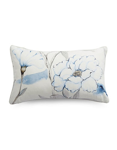Glucksteinhome Emma Floral Rectangular Cushion-WHITE/BLUE-12x20