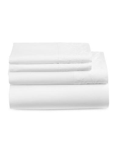 Distinctly Home Everly Four-Piece 450 Thread-Count Cotton Sheet Set-WHITE LEAVES-Queen