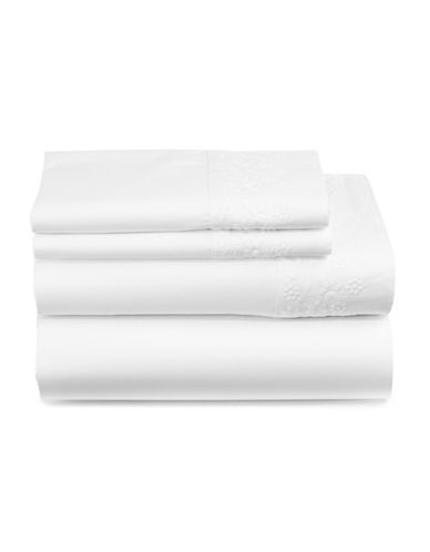 Distinctly Home Everly Four-Piece 450 Thread-Count Cotton Sheet Set-WHITE FLORAL-Queen