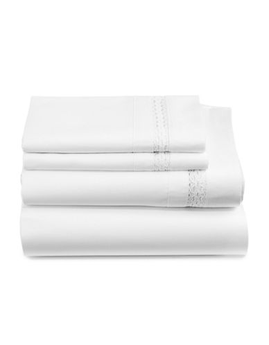 Distinctly Home Everly Four-Piece 450 Thread-Count Cotton Sheet Set-WHITE LACE-Queen