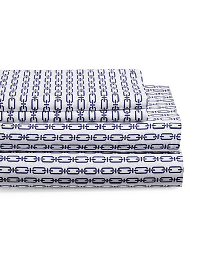 Distinctly Home Four-Piece 200TC Kendall Chain Print Sheet Set-NAVY-Double