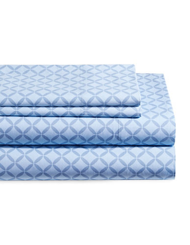 Distinctly Home Four-Piece 200TC Sydney Geo Print Sheet Set-BLUE-King