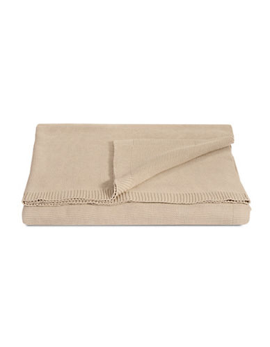 Glucksteinhome Rib Knit Cotton Throw-BEIGE-One Size