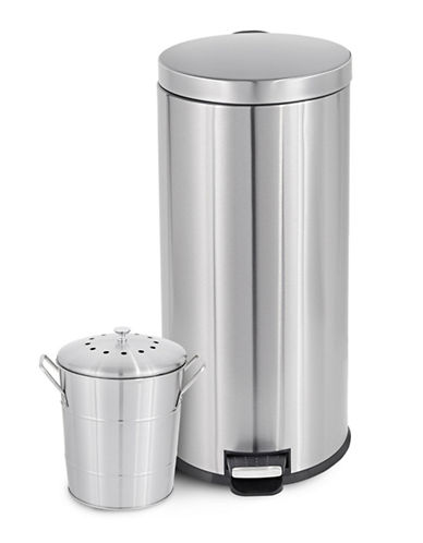 Essential Needs 30L Can and Compost Bin Combo-STAINLESS STEEL-One Size