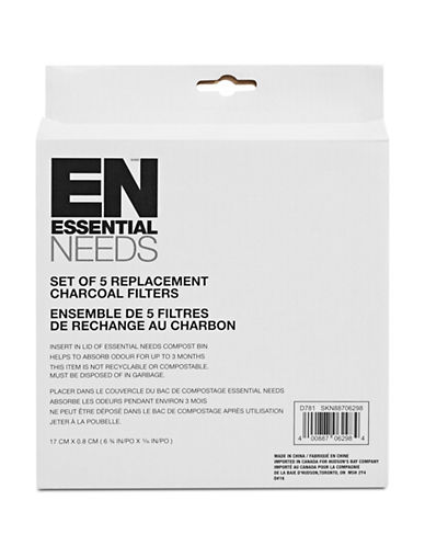 Essential Needs Set of Five Replacement Charcoal Filters-WHITE-One Size