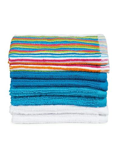 Dh Vibe Eight-Piece Cotton Washcloth Set-BLUE-Washcloth