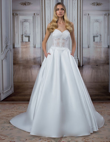 Kleinfeld | Kleinfeld | Satin and Lace Sweetheart Ballgown ...