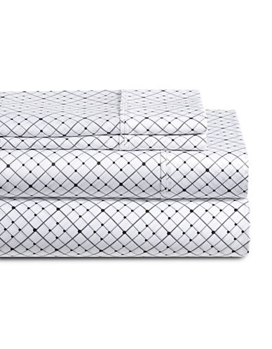 Distinctly Home Diamond Windowpane Four-Piece 250 Thread Count Cotton Sheet Set-WHITE/GREY-Twin