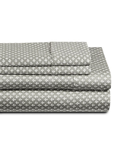 Distinctly Home Clover Four-Piece 250 Thread Count Cotton Sheet Set-GREY/WHITE-Twin