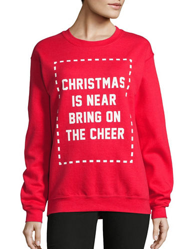 Image of Adolescent Clothing Christmas Is Near Crew Neck Sweatshirt-RED-Large