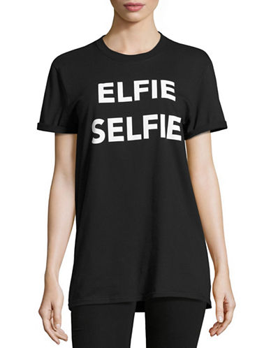 Adolescent Clothing Elfie Selfie Tee-BLACK-X-Small