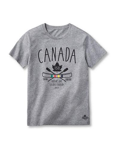 Grand Portage Boys Canada 150 Crew Neck T-Shirt-GREY-7-8