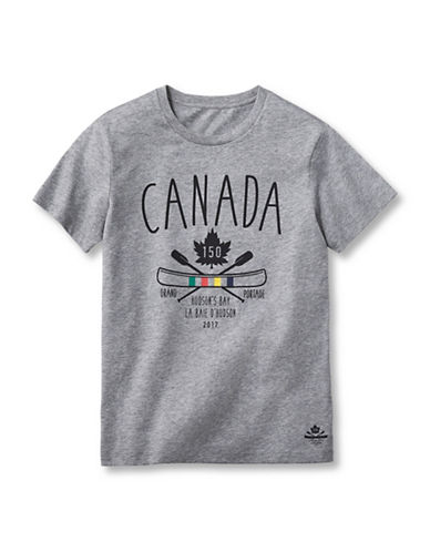 Grand Portage Girls Heathered Canada 150 Logo T-Shirt-GREY-10-12
