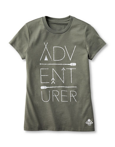Grand Portage Girls Adventurer Printed T-Shirt-GREEN-10-12