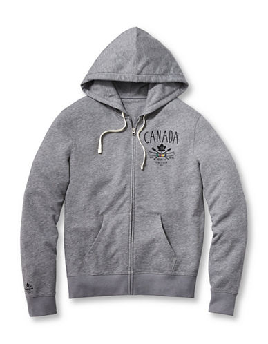Grand Portage Mens Printed Hooded Zip Sweatshirt-GREY-Medium 88775888_GREY_Medium