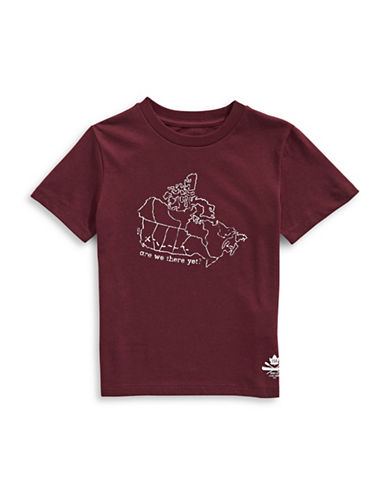 Grand Portage Kids Canada Map Printed T-Shirt-RED-5-6