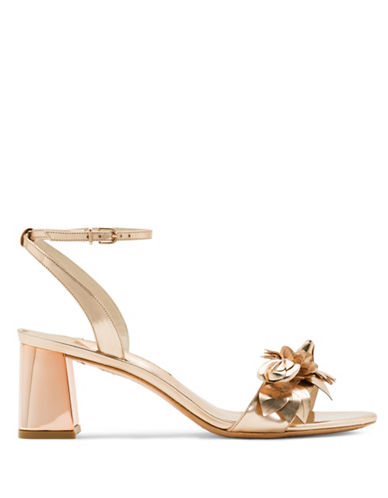 Sophia Webster Flower Embellished Mirror Leather Sandals-ROSE GOLD-EUR 40/US 10