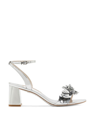 Sophia Webster Flower Embellished Mirror Leather Sandals-SILVER-EUR 37.5/US 7.5