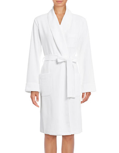 Lord & Taylor Waffle-Knit Robe-WHITE-Medium