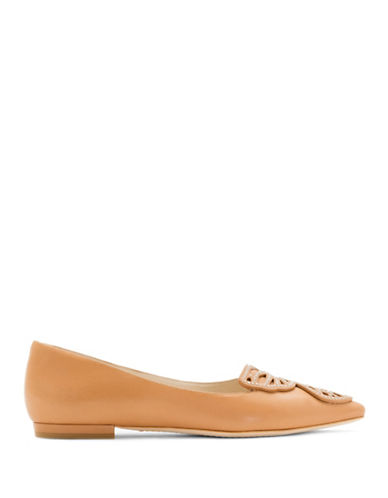 Sophia Webster Stud Butterfly Calf Leather Flats-TAN-EUR 37.5/US 7.5