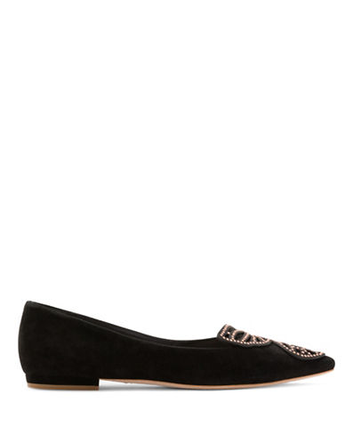 Sophia Webster Stud Butterfly Kid Suede Flats-BLACK-EUR 39.5/US 9.5